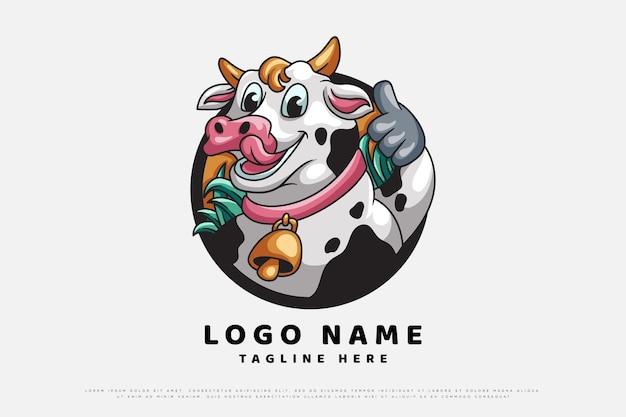 Création de logo de personnage d'illustration de vache
