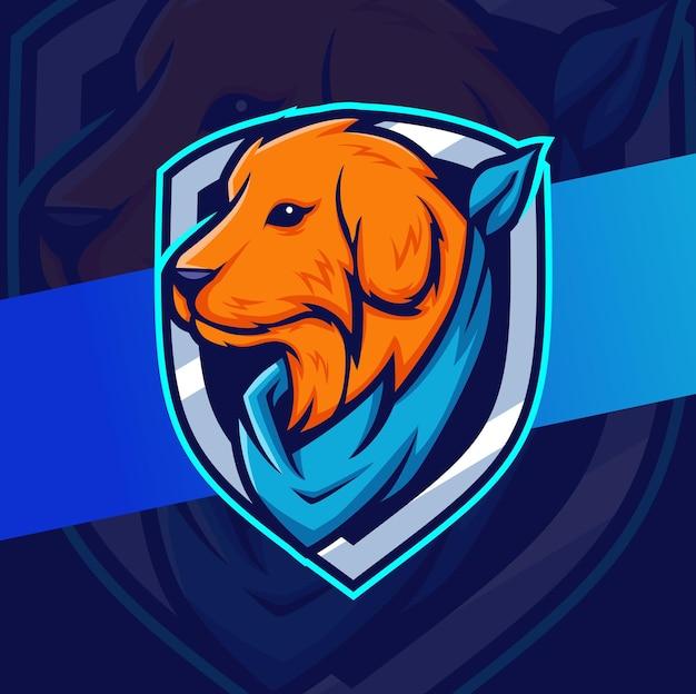 Création de logo de personnage mascotte chien golden retriever avec badges et bandana