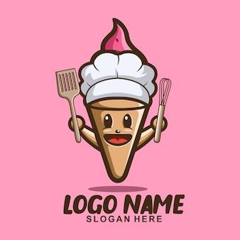 Création de logo de personnage de mascotte mignon chef de crème glacée