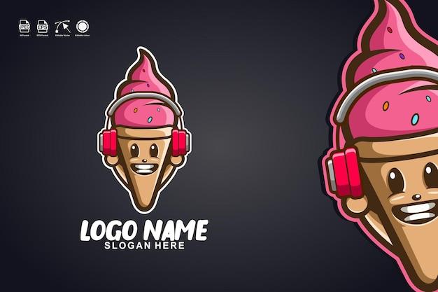 Création de logo de personnage de mascotte mignonne musique de crème glacée