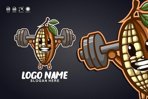 Création de logo de personnage de mascotte mignonne de remise en forme de cacao