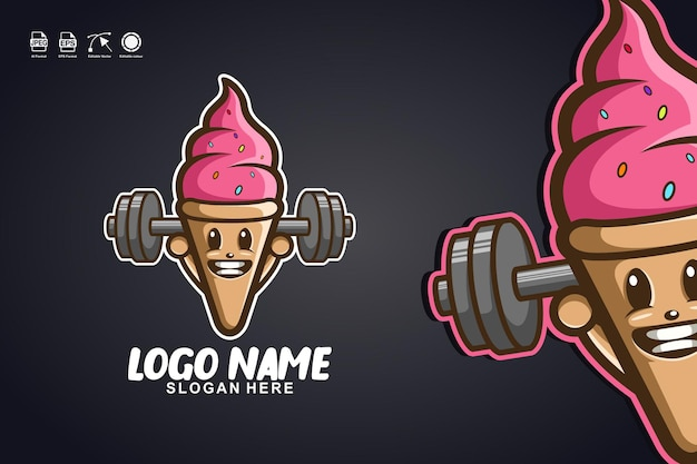 Création de logo de personnage de mascotte mignonne de remise en forme de crème glacée