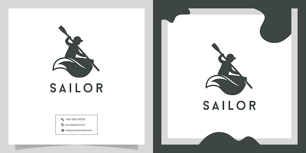 Création de logo de personnes d'aviron de petit bateau
