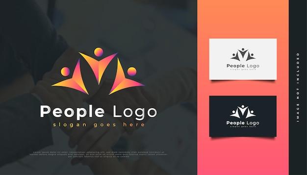 Création de logo de personnes colorées. les gens, la communauté, le réseau, le hub créatif, le groupe, le logo de connexion sociale ou l'icône pour l'identité d'entreprise