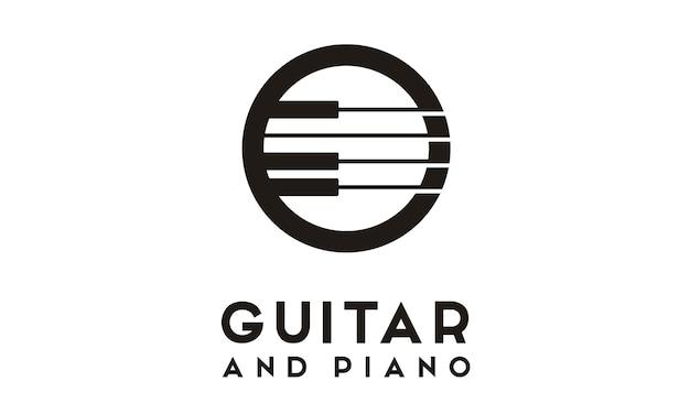 Création de logo de piano de guitare