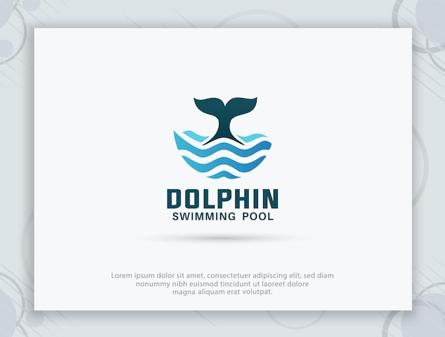Création de logo de piscine de dauphin
