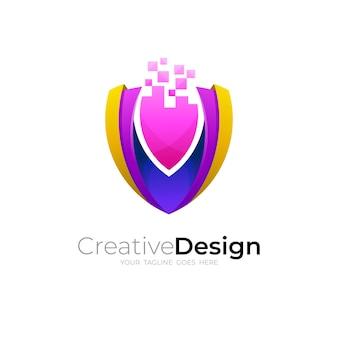 Création de logo et de pixels de bouclier, icône de la technologie