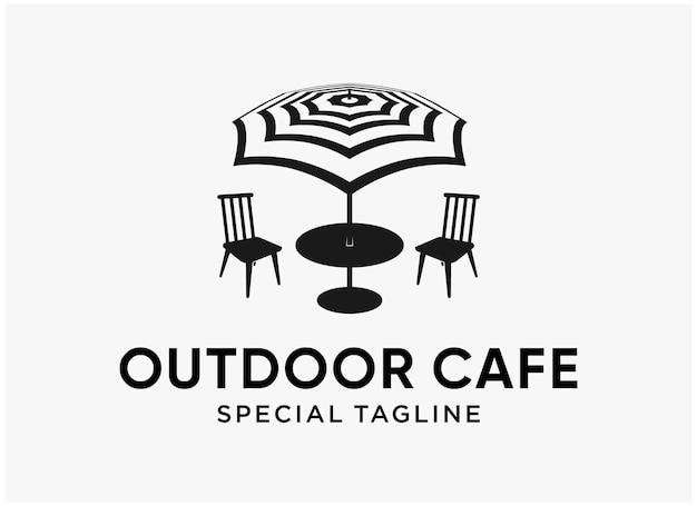 Création de logo de plage de café en plein air simple