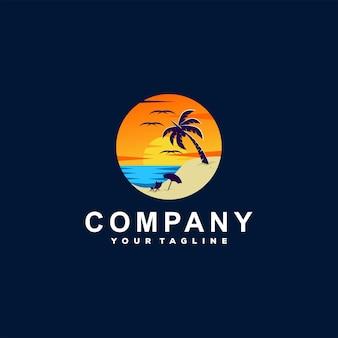 Création de logo de plage océan coucher de soleil
