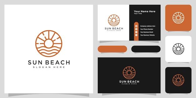 Création de logo de plage de soleil vector avec carte de visite