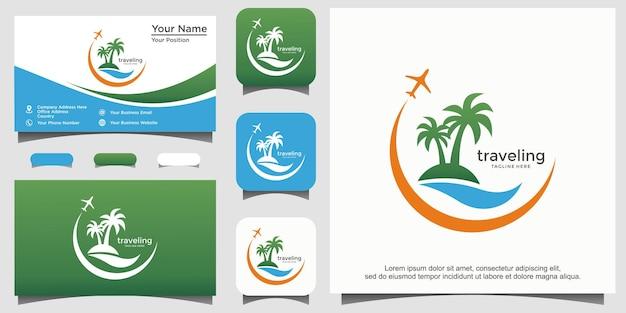 Création de logo de plage de voyage