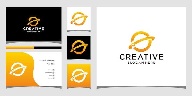 Création de logo de planète avec modèle de carte de visite