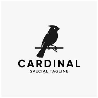 Création de logo plat oiseau cardinal