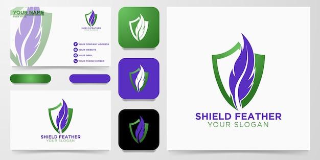 Création de logo de plume de bouclier, illustration vectorielle