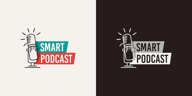 Création de logo de podcast d'éducation en blanc ou noir