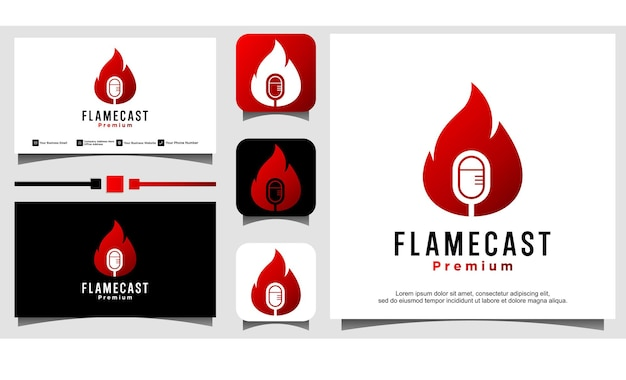 Création de logo de podcast de feu de flamme