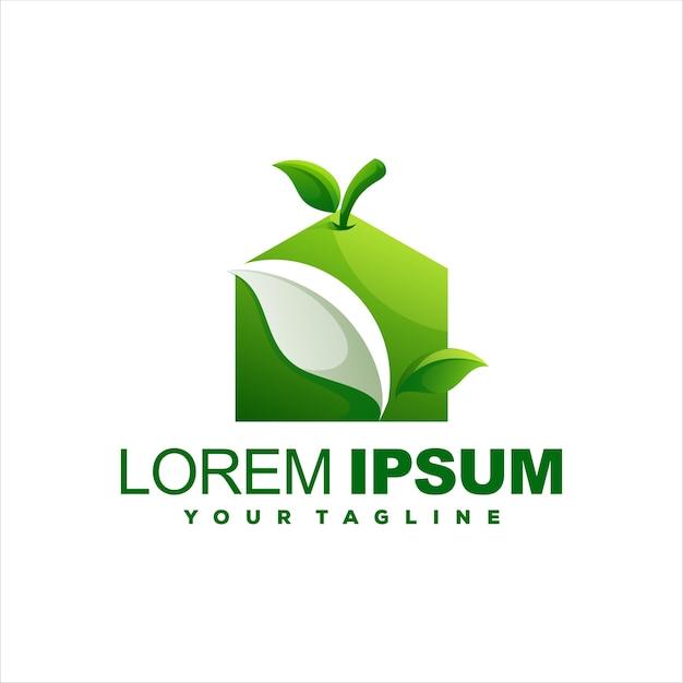 Création de logo pomme maison verte