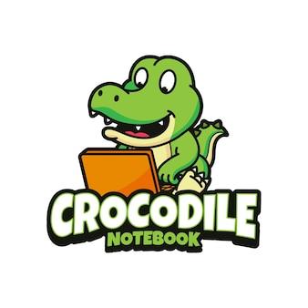Création de logo pour ordinateur portable crocodile fond isolé