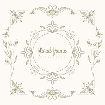 Création de logo premium en or avec cadre floral