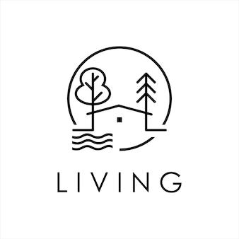 Création de logo de propriété dessin au trait nature