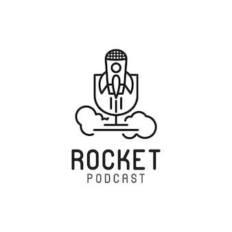 Création de logo de radio de podcast de conférence de microphone de fusée de micro