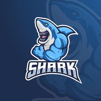 Création de logo de requin musclé