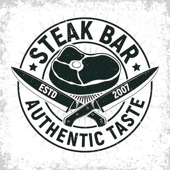 Création de logo de restaurant barbecue vintage, emblème de typographie