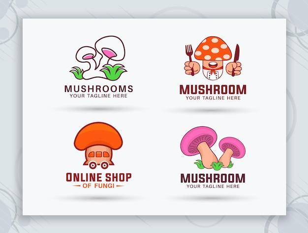 Création de logo de restaurant de champignons et de ferme de champignons