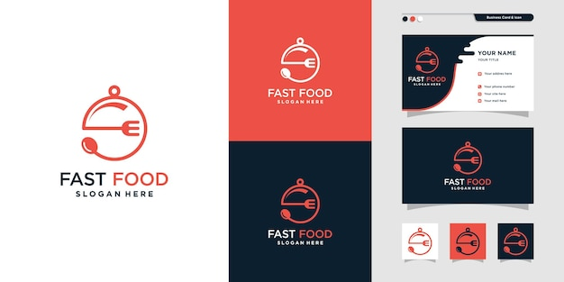 Création de logo de restauration rapide avec un style unique et créatif vecteur premium