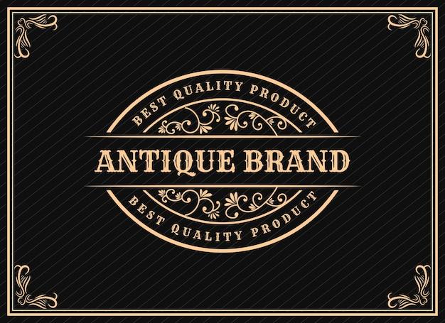 Création de logo rétro vintage de luxe patrimonial dessiné à la main avec cadre décoratif pour le texte et la police premium