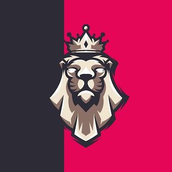 Création de logo de roi lion avec couronne