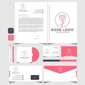 Création de logo rose avec un style de ligne avec papeterie