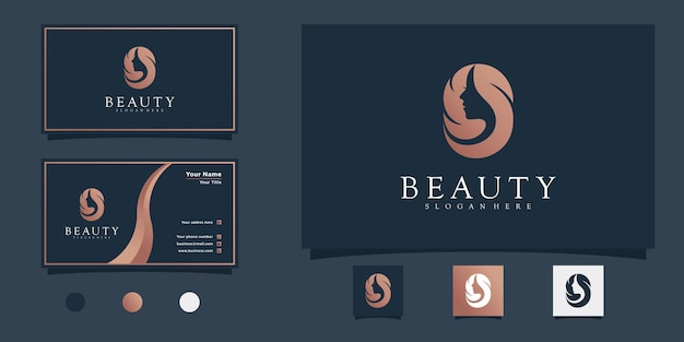 Création de logo de salon de coiffure femme moderne avec concept de couleur dégradé de beauté et carte de visite premium vekto