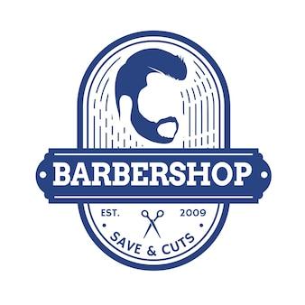 Création de logo de salon de coiffure rétro vintage
