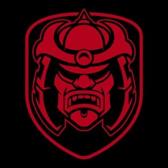 Création de logo de samouraï. badge avec guerrier japonais. identité du club de combat.