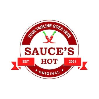 Création de logo de sauce arrondie créative logo de sauce pour autocollant de timbre et autres