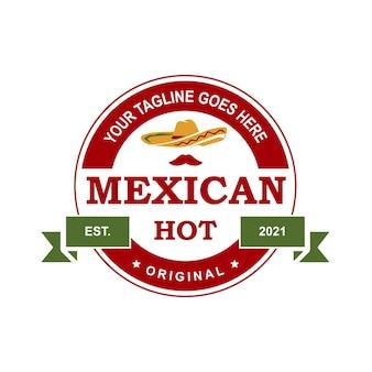 Création de logo de sauce mexicaine arrondie créative logo de sauce pour autocollant de timbre et autres