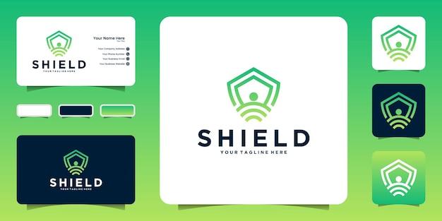 Création de logo de sécurité réseau, icônes, symboles et cartes de visite