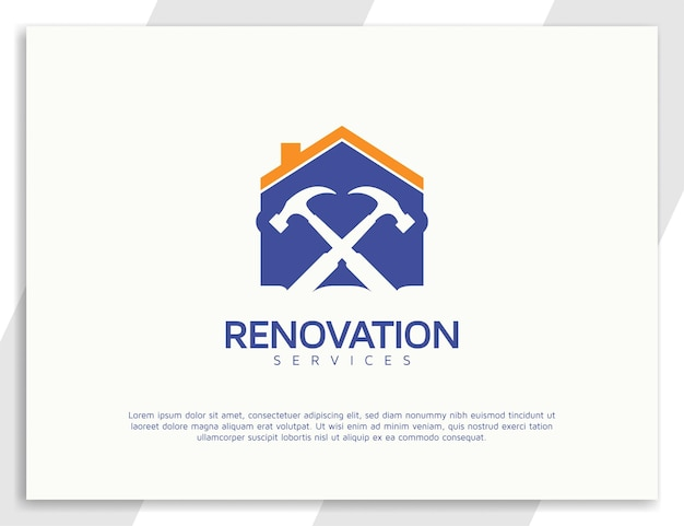 Création de logo de services de rénovation avec concept de marteau et de maison