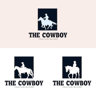 Création de logo silhouette cheval cowboy