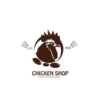 Création de logo de silhouette de magasin de poulet