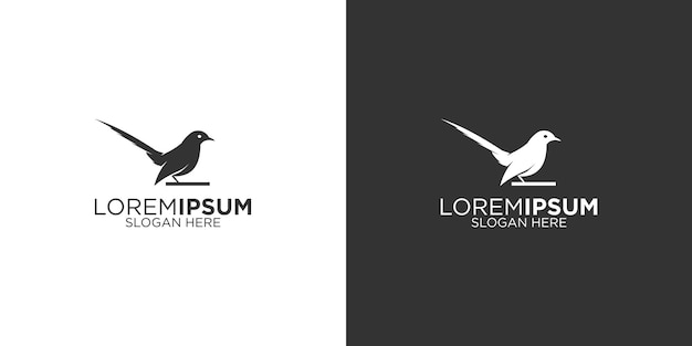 Création de logo silhouette oiseau pie