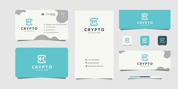 Création de logo de société d'investissement avec conception de carte de visite texte logo m