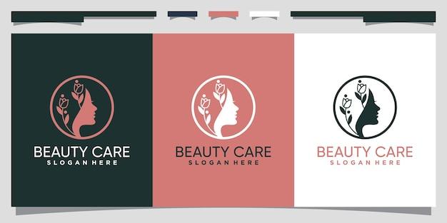 Création de logo de soins de beauté avec visage de femme et style d'art au trait vecteur premium
