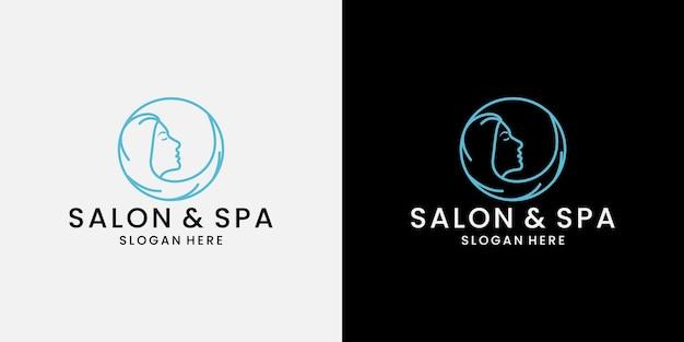 Création de logo de spa de salon de beauté avec le visage et la coiffure des femmes