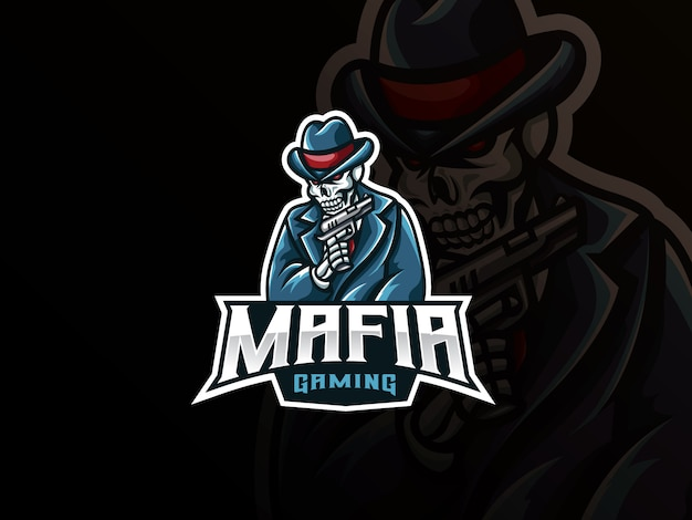 Création de logo sport mascotte crâne mafia