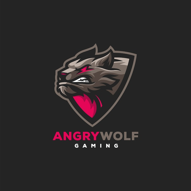 Création de logo de sports de jeu de loup