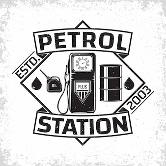 Création de logo de station-service vintage, emblème de station-service, emblème de typographiev de station-service d'essence ou de diesel, tampons d'impression avec grange amovible facile