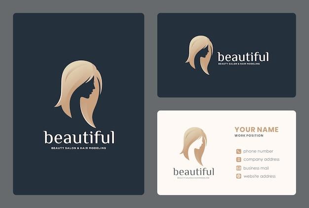 Création de logo de studio de beauté / visage de femme élégante avec modèle de carte de visite.