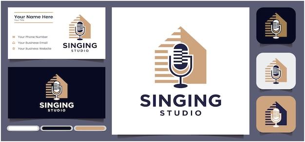 Création de logo de studio de chant création de logo de conversation de microphone de podcast logo de radio à l'aide d'un microphone